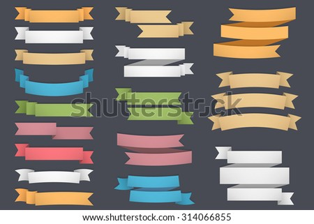 Blank colored ribbons set, one, two and three lines for your text, vector eps10 illustration - stock vector