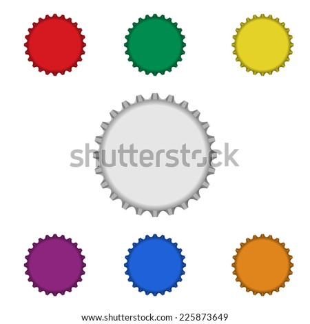 blank colorful bottle caps on white background : logo vector