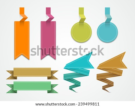 Blank colorful offer tags, stickers or label for your business on stylish background. - stock vector