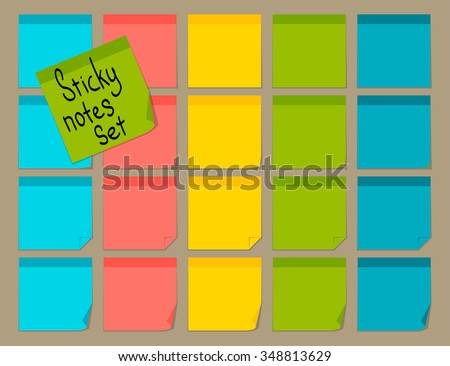 Blank colorful sticky notes set. Flat design. Vector illustration - stock vector