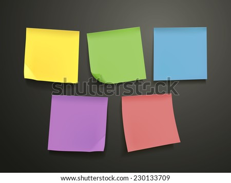 blank colorful sticky notes set over black background - stock vector