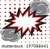 Blank comic speech bubble in pop art style on burst background  - stock vector
