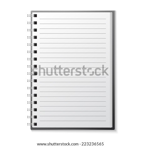 Blank copybook template - stock vector
