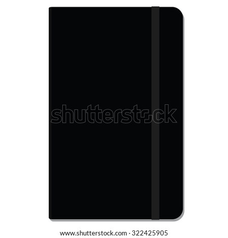 Blank copybook template with elastic band and bookmark. Black copybook moleskin - stock vector