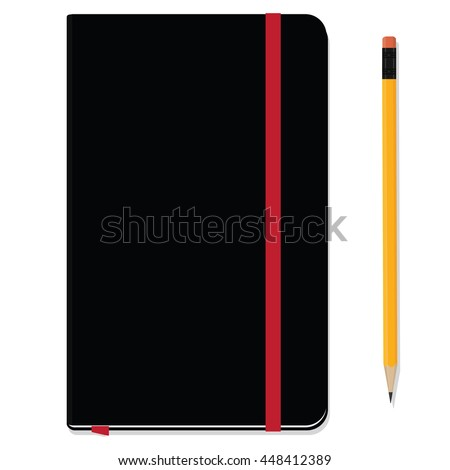 Blank copybook template with elastic band and bookmark. Black notebook moleskin and yellow pencil with eraser. Stationery tools - stock vector