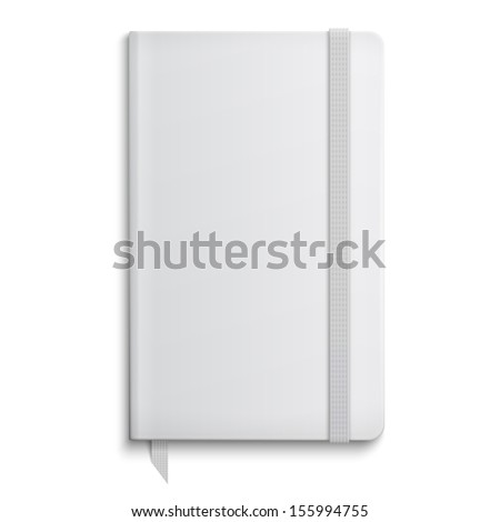 Blank copybook template with elastic band and bookmark. Vector illustration. - stock vector
