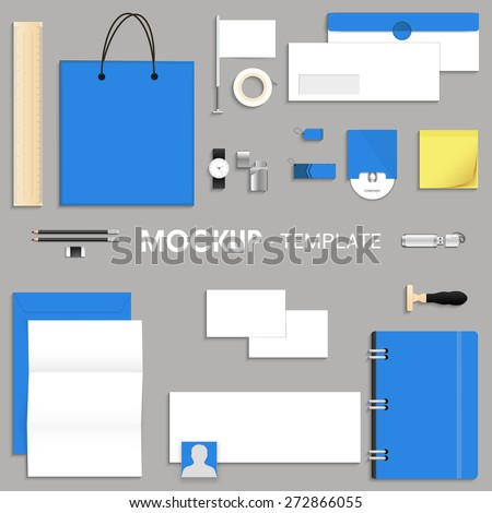 Blank corporate identity kit or mock up for your business including Letterhead, File Folder, Envelope, Visiting Cards, CD, and Stationery items. - stock vector