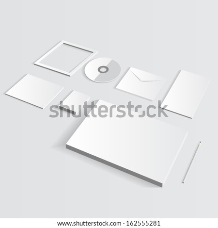 Blank Corporate Set isolated on grey Business cards, Folder, envelopes, a4 letterheads, notebooks, flash, pencile, cd disk and smart phones. - stock vector