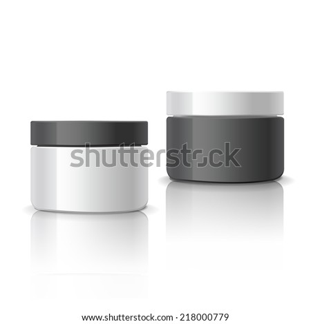 blank cosmetic containers set isolated on white background