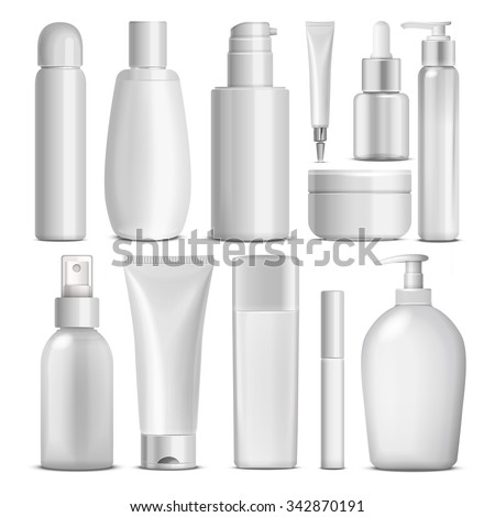 blank cosmetic package collection set isolated on white background - stock vector
