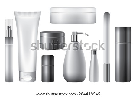 Blank cosmetic tubes isolated white, vector objects - stock vector