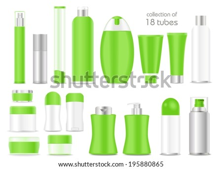 Blank cosmetic tubes  on white background. Green, white and silver colors. Place for your text. Vector - stock vector