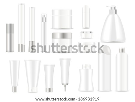 Blank cosmetic tubes  on white background. White and silver colors. Place for your text. Vector - stock vector