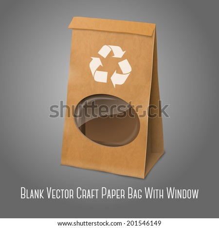 Blank craft vector realistic paper packaging bag with recycle sign and transparent window, for your design and branding. Isolated on grey background. - stock vector