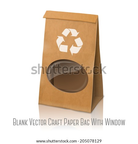 Blank craft vector realistic paper packaging bag with recycle sign and transparent window, for your design and branding.  Isolated on white background with reflection. - stock vector