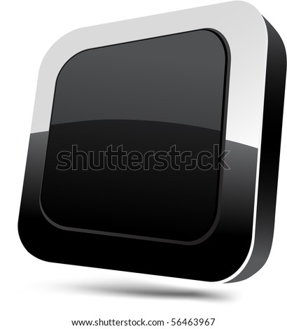 Blank 3d black button. Vector.