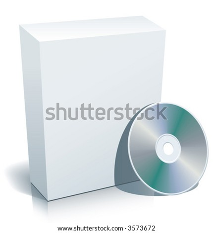 Blank 3d box with compact disc. - stock vector