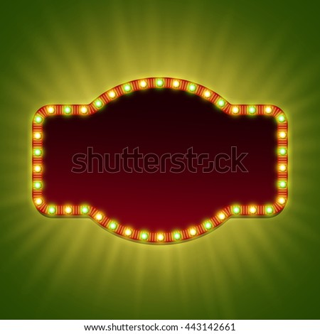 Blank 3d retro light banner with shining bulbs. Bright frame with red and green lights and  space for your advertising text. Vector illustration. - stock vector