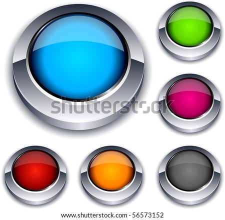 Blank 3d round buttons. Vector. - stock vector