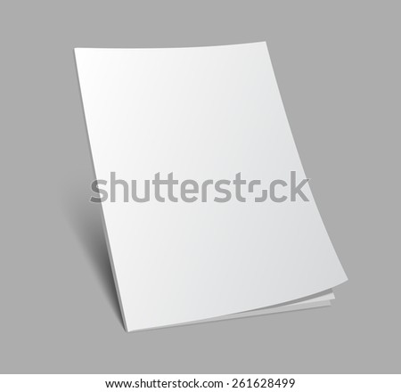 Blank 3d standing magazine or brochure cover on gray background. Vector illustration with soft shadow.  - stock vector