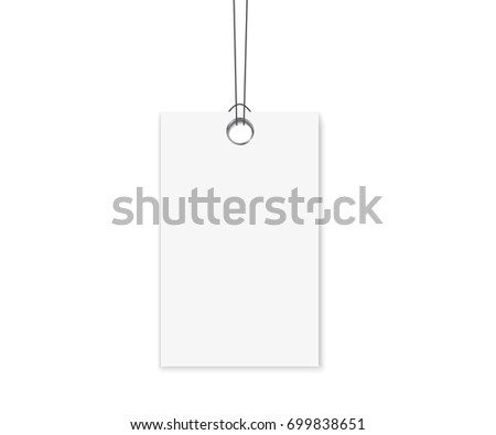Blank Dangling Paper Label Or Cloth Tag Set. Blank Labels Template Price  Tags Set Realistic