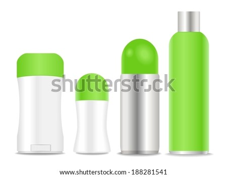 Blank deodorants and spray tubes. Green and white colors. Vector. - stock vector