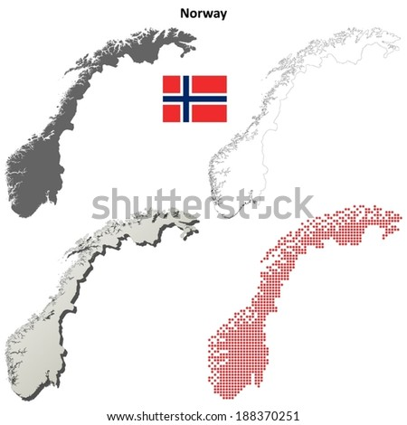Blank detailed contour maps of Norway - vector version - stock vector