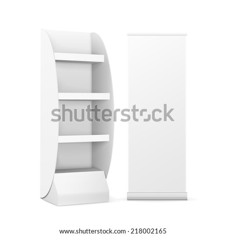 blank display with shelves and roll up banner isolated on white - stock vector