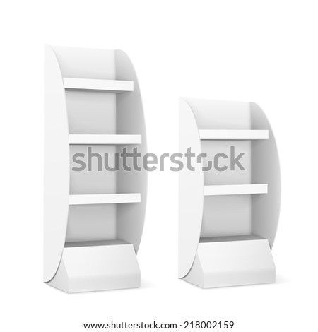blank displays with shelves isolated on white - stock vector