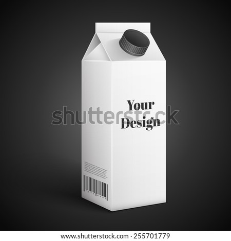 blank drink carton package isolated over black background, excellent vector illustration, EPS 10