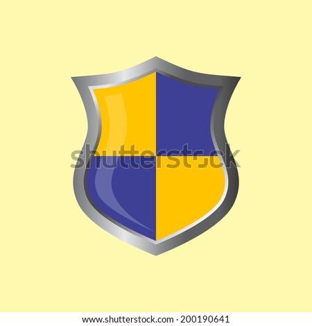 blank empty blue theme shield - stock vector