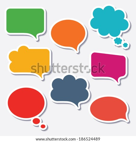 Blank empty colorful speech bubbles collection set with shadows and white border stroke isolated on white background. Vector illustration  - stock vector
