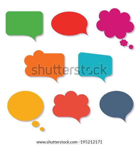 Blank empty colorful speech bubbles paper collection set isolated on white background. Vector illustration