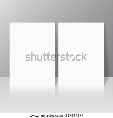 Blank empty magazine or book or booklet, brochure, leaflet template stationary standing  on a gray background. vector. catalog - stock vector