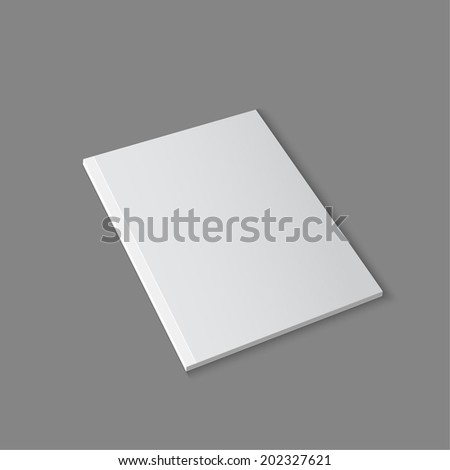 Blank empty magazine template lying on a gray background. vector - stock vector