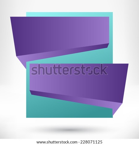 Blank empty origami design element. Banner background. - stock vector