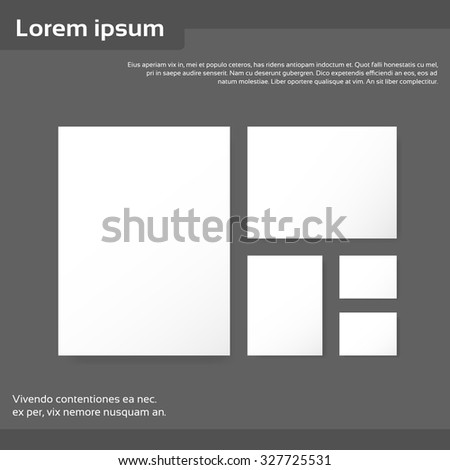 Blank Empty Sheet Business Mock Up White Page Card Set Paper Banner Flyer Vector Illustration - stock vector