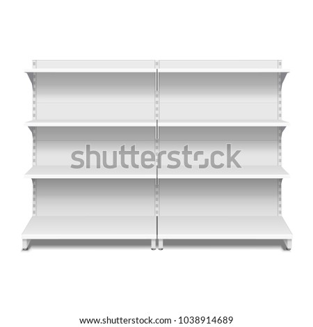 Blank Empty Showcase Display With Retail Shelves. 3D. Front View. Mock Up, Template. Illustration Isolated On White Background. Ready For Your Design. Product Advertising. Vector EPS10