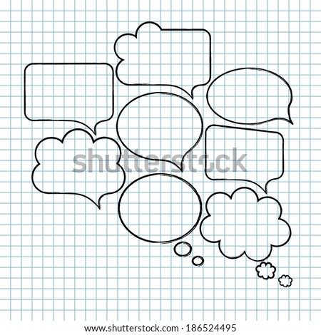 Blank empty speech bubble collection. Set of hand-drawn speech and thought bubbles isolated on squared notebook paper background. Vector illustration.