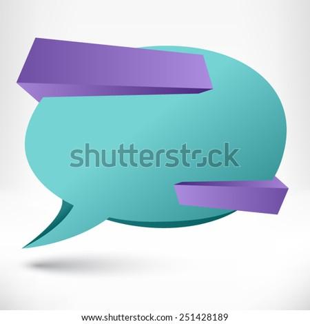 Blank empty speech bubble. Origami banner, background. - stock vector