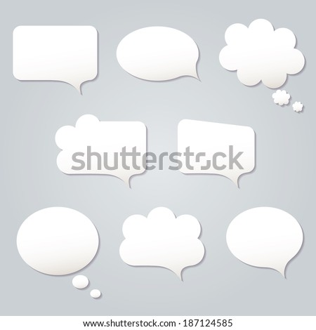 Blank empty white speech bubbles paper collection set isolated on grey background. Vector illustration  - stock vector