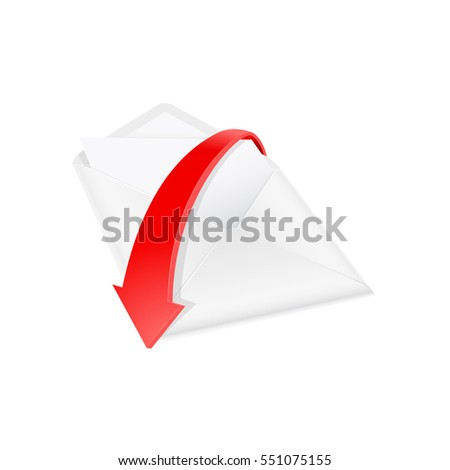 Blank envelope in perspective with the red arrow around it. Vector Illustration