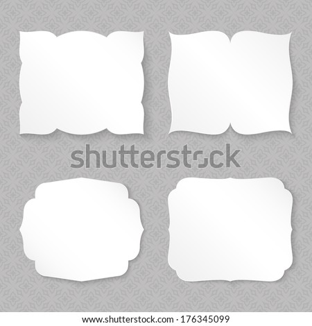 Blank figured paper cards set vector template. - stock vector