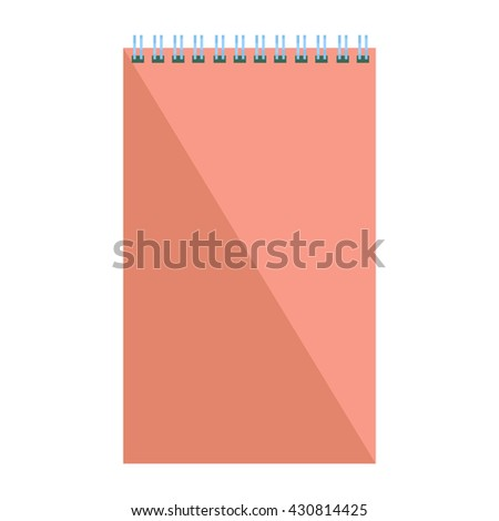 Blank flat spiral notepad. Notebook isolated on white background. Vector illustration eps10 - stock vector