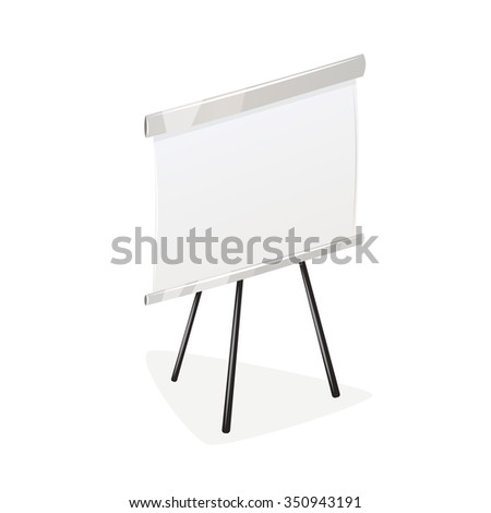 Blank flip chart on tripod. Business and finance illustration. Isolated on white background. - stock vector