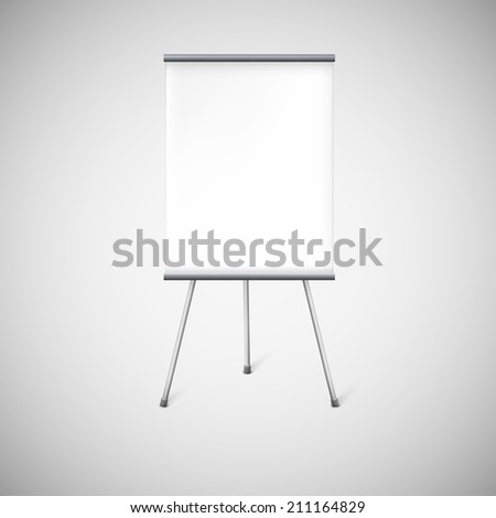 Blank flip chart or advertising stand, easel isolated on white. - stock vector