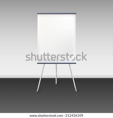 Blank flipchart stands near the wall, vector illustration. - stock vector