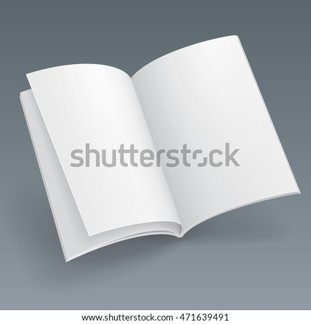 Blank Flying Magazine, Book, Booklet, Brochure, Cover. Illustration Isolated On Gray Background. Mock Up Template Ready For Your Design. Vector EPS10