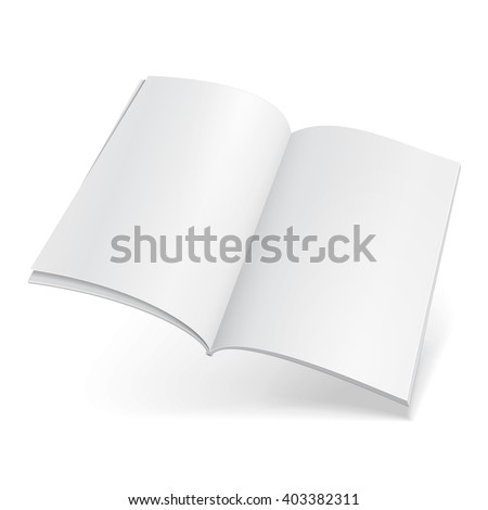 Blank Flying Magazine, Book, Booklet, Brochure, Cover. Illustration Isolated On White Background. Mock Up Template Ready For Your Design. Vector EPS10