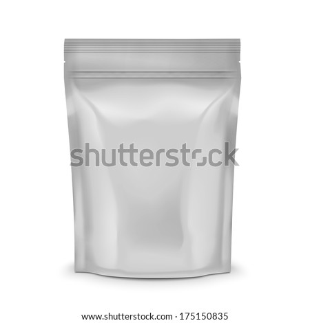 Blank foil or plastic sachet with valve and seal for coffee, cocoa or sweets. Packaging collection. Vector illustration. - stock vector